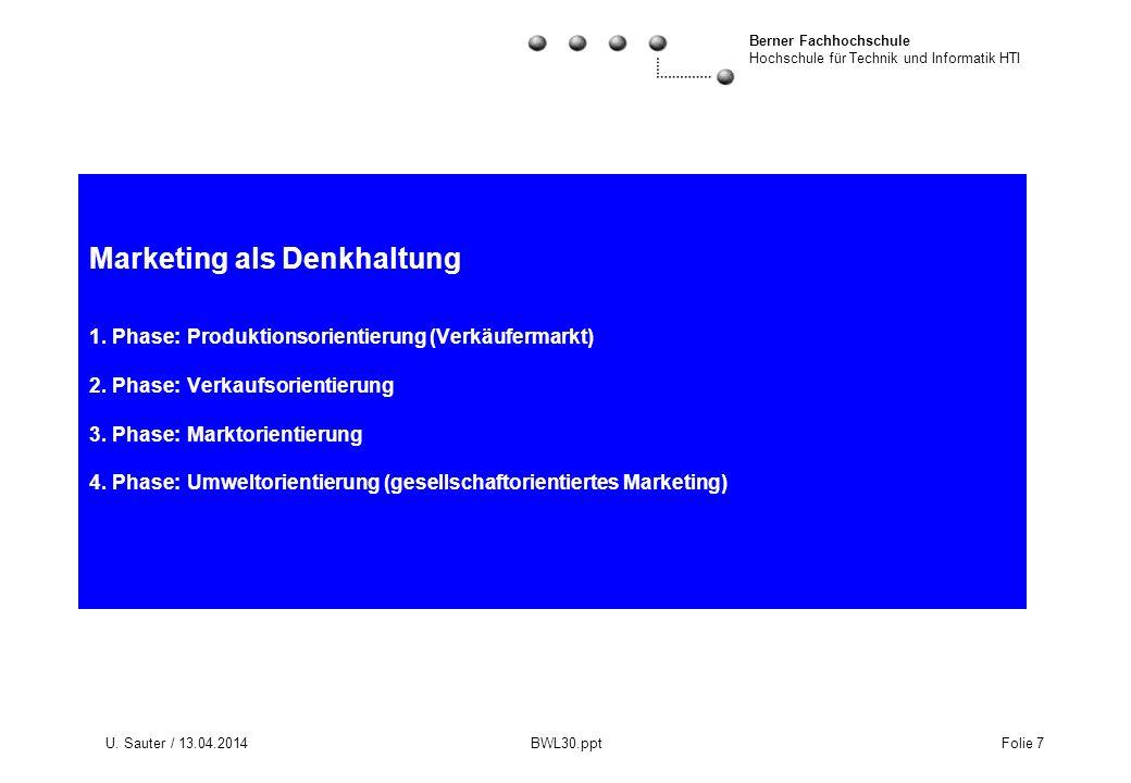 Berner Fachhochschule Hochschule für Technik und Informatik HTI U. Sauter / 13.04.2014 BWL30.ppt Folie 7 Marketing als Denkhaltung 1. Phase: Produktio