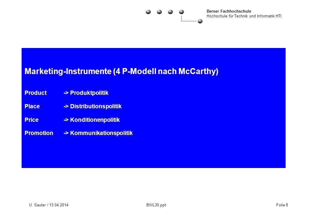 Berner Fachhochschule Hochschule für Technik und Informatik HTI U. Sauter / 13.04.2014 BWL30.ppt Folie 8 Marketing-Instrumente (4 P-Modell nach McCart