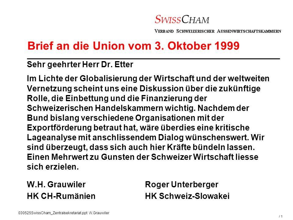 / 1 030525SwissCham_Zentralsekretariat.ppt W.Grauwiler Sehr geehrter Herr Dr.
