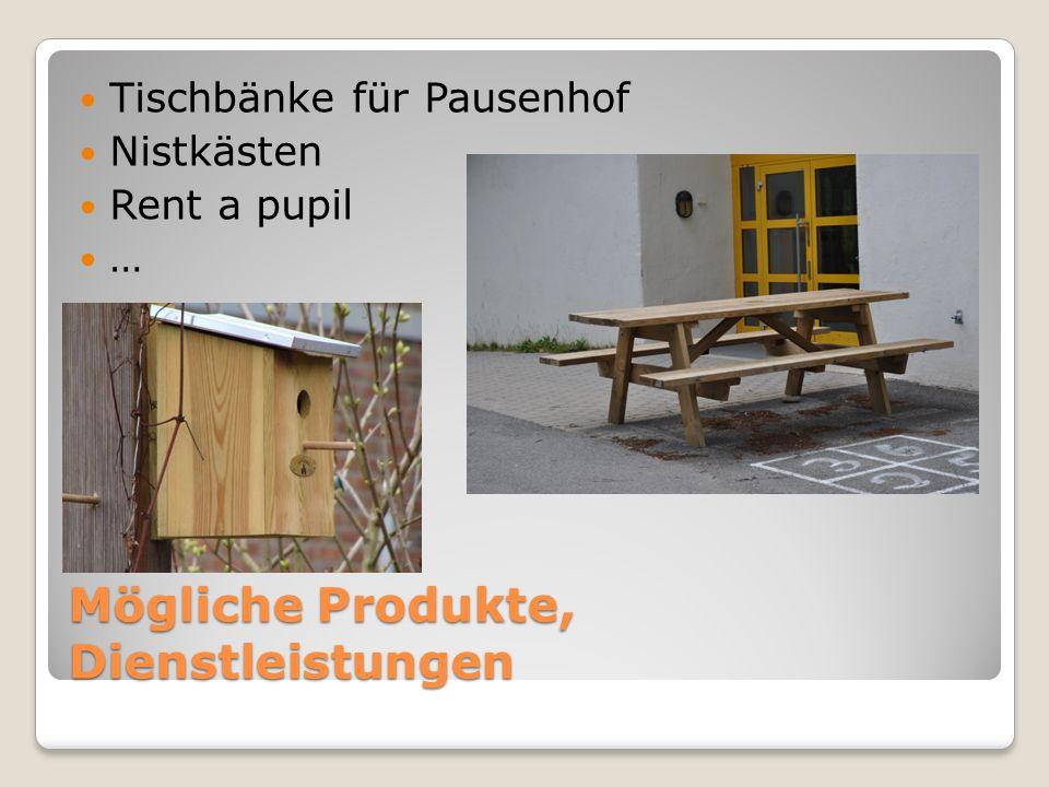 Mögliche Produkte, Dienstleistungen Tischbänke für Pausenhof Nistkästen Rent a pupil …