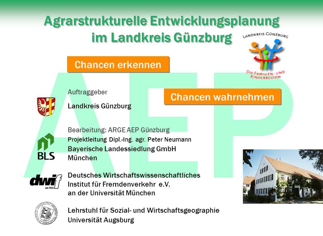AEP Agrarstrukturelle Entwicklungsplanung im Landkreis Günzburg Bearbeitung: ARGE AEP Günzburg Projektleitung Dipl.-Ing.