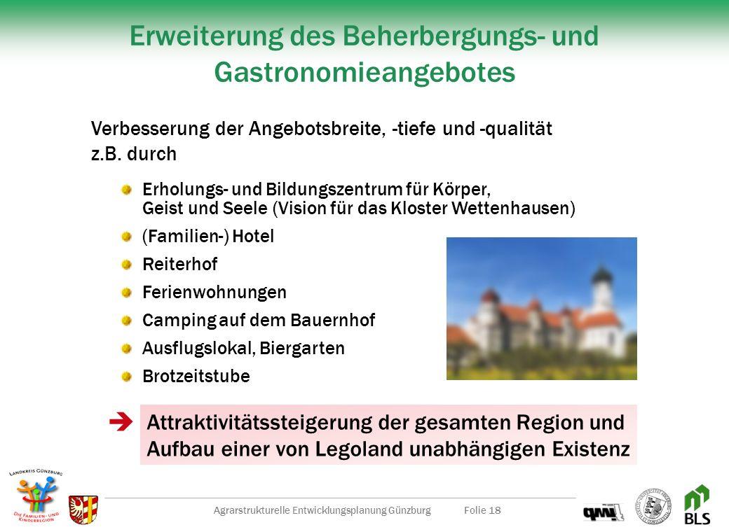 Agrarstrukturelle Entwicklungsplanung GünzburgFolie 17 Erfolgsbasis für die zukünftige Entwicklung Aufbau Welcome-Center Vermarktung (z.B. Werbung, Ve