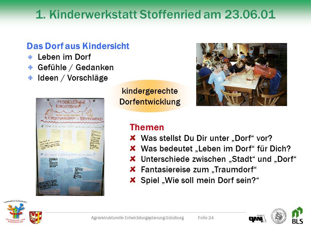 Agrarstrukturelle Entwicklungsplanung GünzburgFolie 23 Leitprojekt Kinderdorf Ziele Steigerung der Lebensqualität Realisierung der Familien- u. Kinder