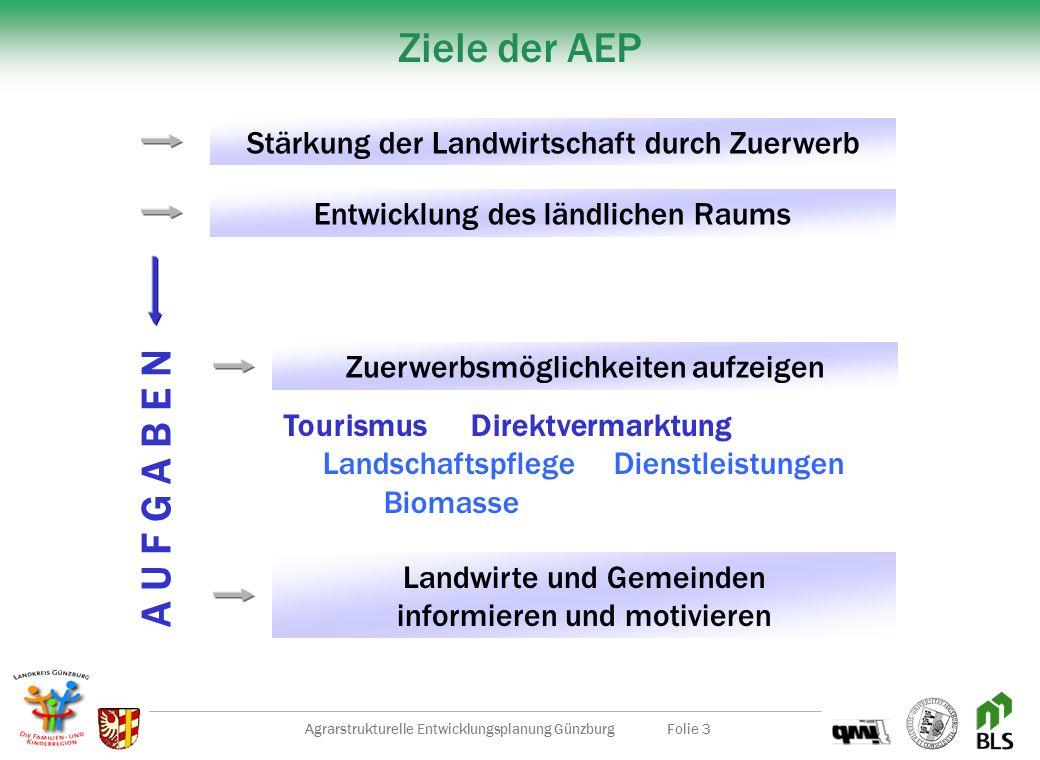 Agrarstrukturelle Entwicklungsplanung GünzburgFolie 3 Ziele der AEP Zuerwerbsmöglichkeiten aufzeigen Tourismus Direktvermarktung LandschaftspflegeDienstleistungen Biomasse Landwirte und Gemeinden informieren und motivieren Stärkung der Landwirtschaft durch Zuerwerb Entwicklung des ländlichen Raums A U F G A B E N