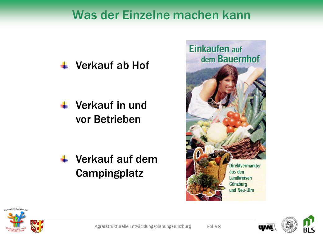 Agrarstrukturelle Entwicklungsplanung GünzburgFolie 8 Was der Einzelne machen kann Verkauf ab Hof Verkauf in und vor Betrieben Verkauf auf dem Campingplatz