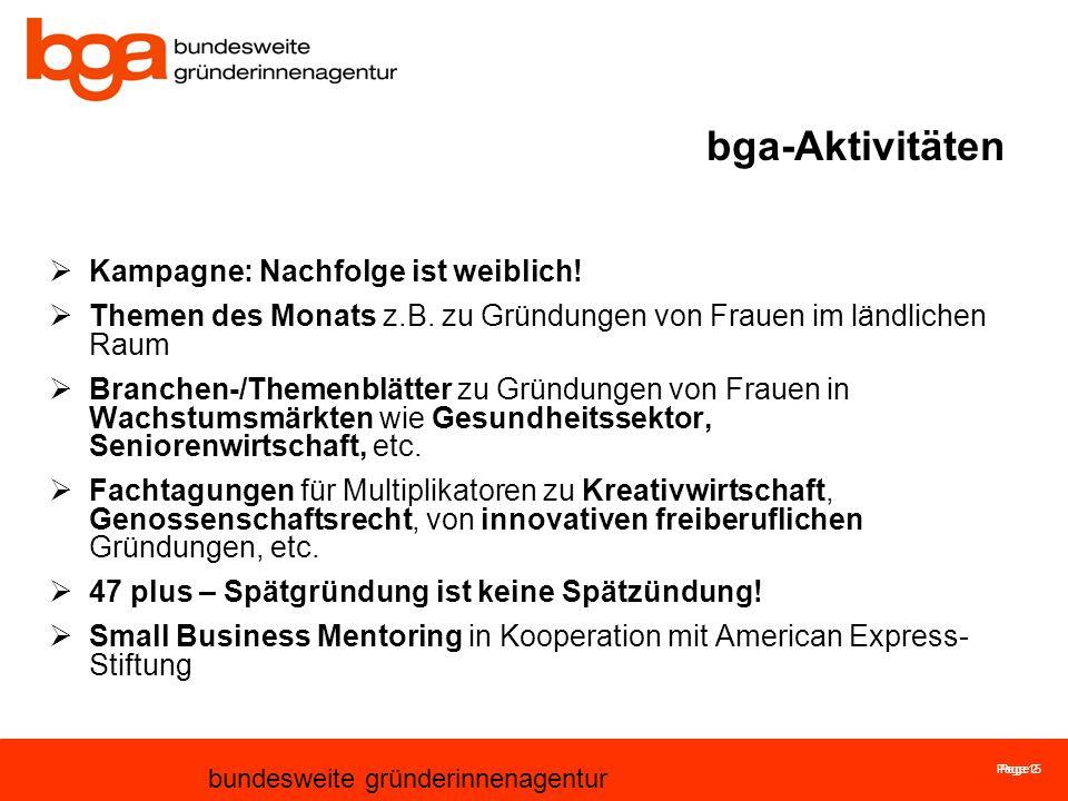 Page 15 bundesweite gründerinnenagentur Page 2 bga-Aktivitäten Kampagne: Nachfolge ist weiblich.