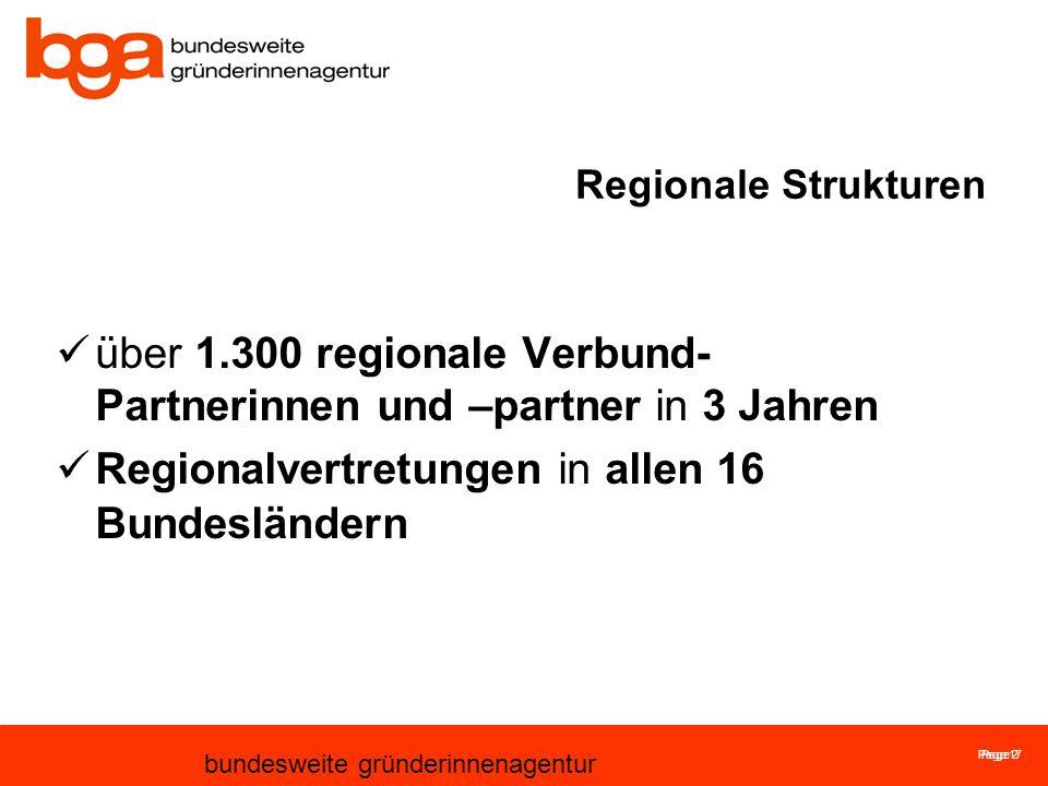 Page 17 bundesweite gründerinnenagentur Page 2 Regionale Strukturen über 1.300 regionale Verbund- Partnerinnen und –partner in 3 Jahren Regionalvertretungen in allen 16 Bundesländern