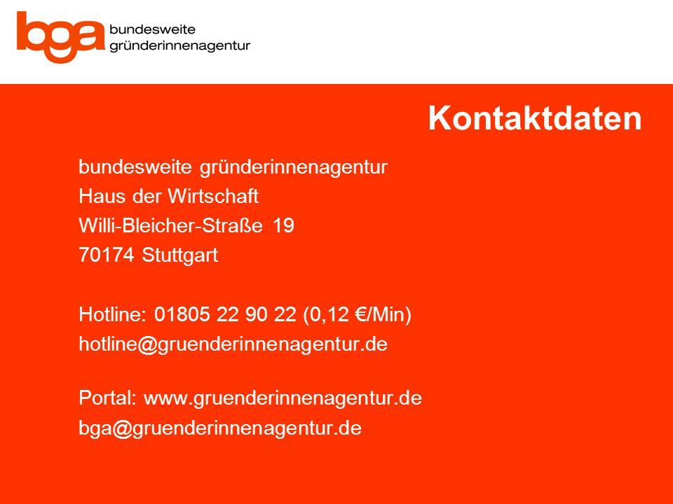 Folientitel Vorname, Name, Ort, Datum Page 18 bundesweite gründerinnenagentur Haus der Wirtschaft Willi-Bleicher-Straße 19 70174 Stuttgart Hotline: 01805 22 90 22 (0,12 /Min) hotline@gruenderinnenagentur.de Portal: www.gruenderinnenagentur.de bga@gruenderinnenagentur.de Kontaktdaten