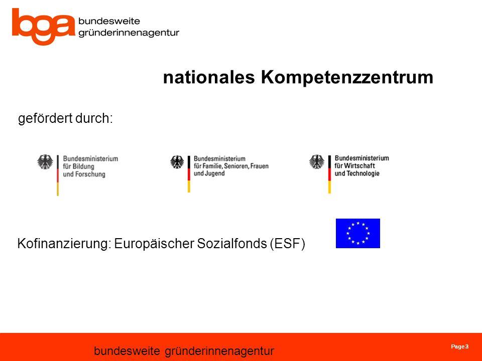 Page 3 bundesweite gründerinnenagentur Page 2 nationales Kompetenzzentrum gefördert durch: Kofinanzierung: Europäischer Sozialfonds (ESF)