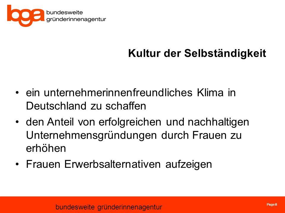 Page 6 bundesweite gründerinnenagentur Page 2 Kultur der Selbständigkeit ein unternehmerinnenfreundliches Klima in Deutschland zu schaffen den Anteil von erfolgreichen und nachhaltigen Unternehmensgründungen durch Frauen zu erhöhen Frauen Erwerbsalternativen aufzeigen