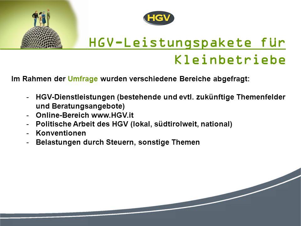 Im Rahmen der Umfrage wurden verschiedene Bereiche abgefragt: -HGV-Dienstleistungen (bestehende und evtl.