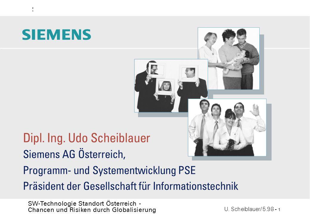 U. Scheiblauer/ 5.98 - 1 SW-Technologie Standort Österreich - Chancen und Risiken durch Globalisierung s Dipl. Ing. Udo Scheiblauer Siemens AG Österre