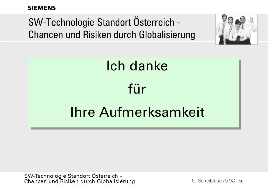 U. Scheiblauer/ 5.98 - 14 SW-Technologie Standort Österreich - Chancen und Risiken durch Globalisierung s Ich danke für Ihre Aufmerksamkeit SW-Technol