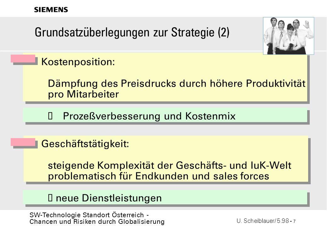 U. Scheiblauer/ 5.98 - 7 SW-Technologie Standort Österreich - Chancen und Risiken durch Globalisierung s Grundsatzüberlegungen zur Strategie (2) Koste