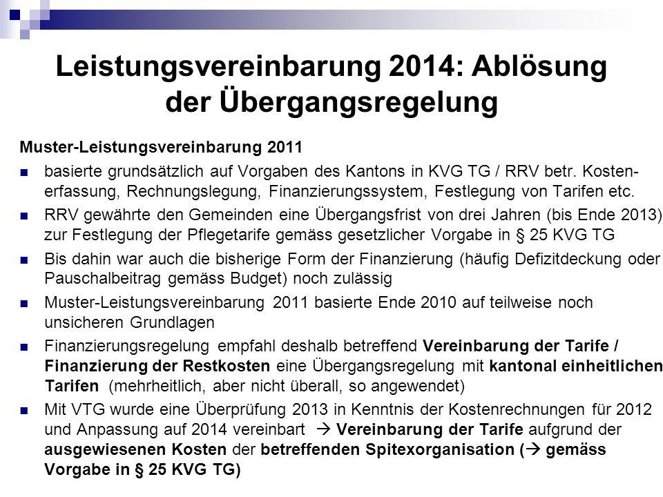 Leistungsvereinbarung 2014: Ablösung der Übergangsregelung Muster-Leistungsvereinbarung 2011 basierte grundsätzlich auf Vorgaben des Kantons in KVG TG