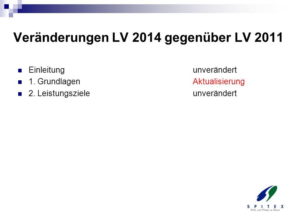 Veränderungen LV 2014 gegenüber LV 2011 Einleitungunverändert 1. GrundlagenAktualisierung 2. Leistungszieleunverändert