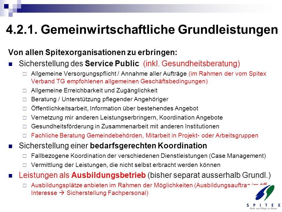 4.2.1. Gemeinwirtschaftliche Grundleistungen Von allen Spitexorganisationen zu erbringen: Sicherstellung des Service Public (inkl. Gesundheitsberatung