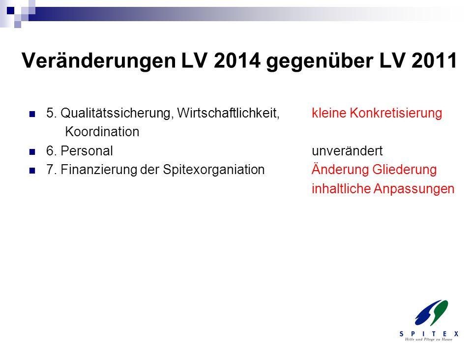Veränderungen LV 2014 gegenüber LV 2011 5. Qualitätssicherung, Wirtschaftlichkeit, kleine Konkretisierung Koordination 6. Personalunverändert 7. Finan