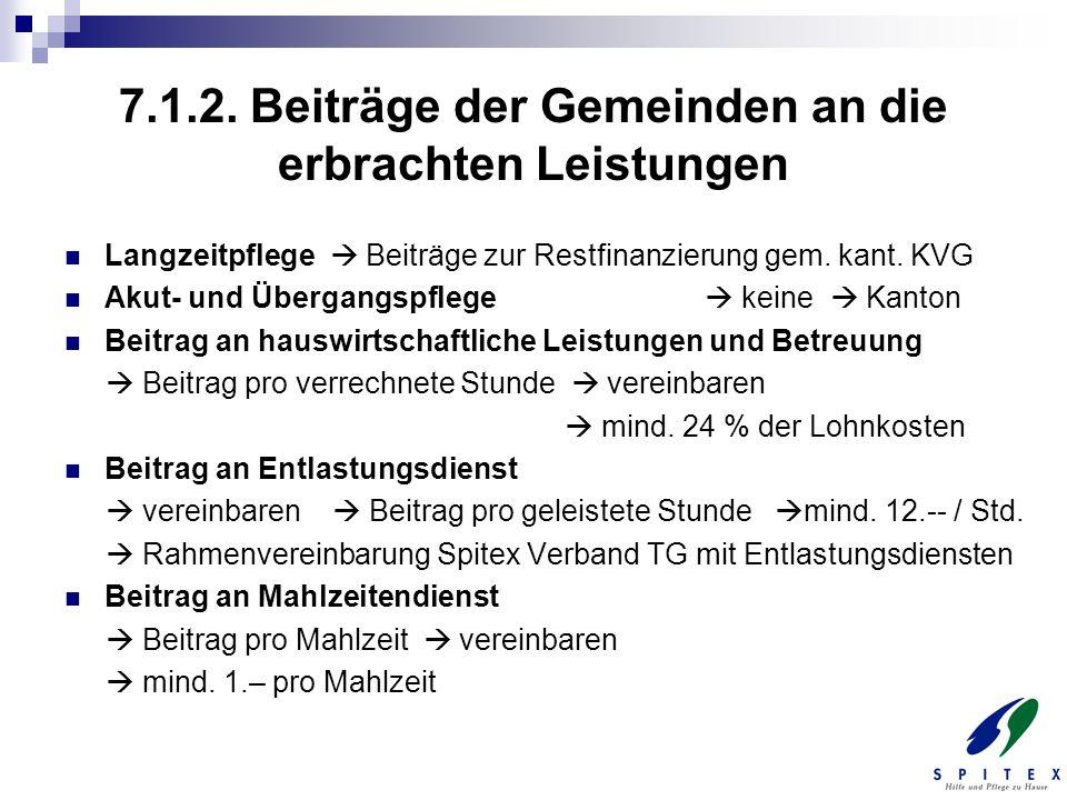 7.1.2. Beiträge der Gemeinden an die erbrachten Leistungen Langzeitpflege Beiträge zur Restfinanzierung gem. kant. KVG Akut- und Übergangspflege keine