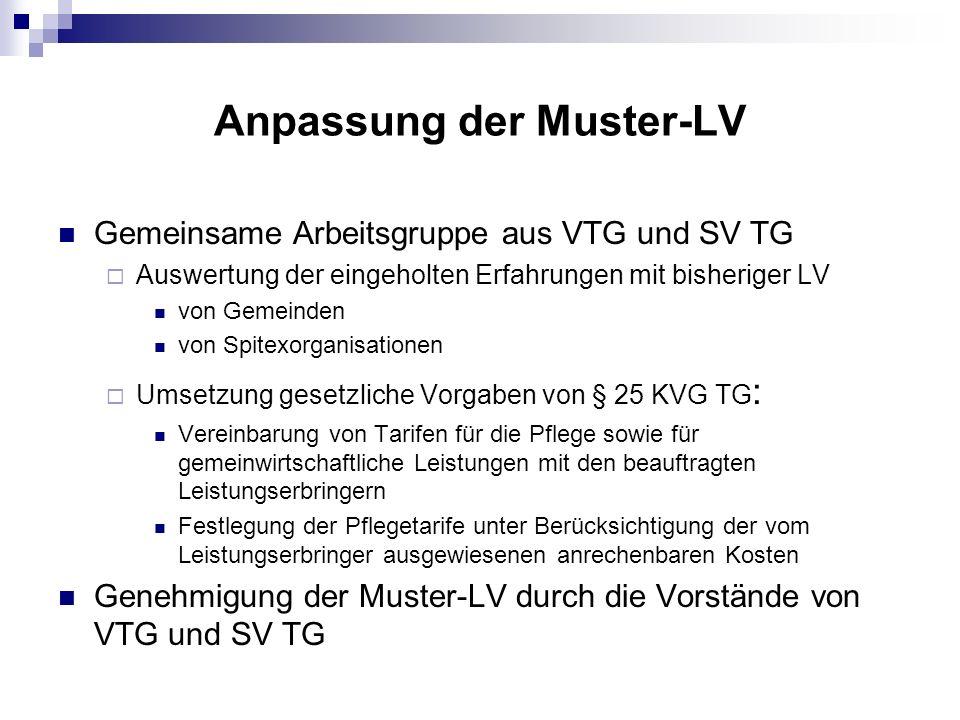 Anpassung der Muster-LV Gemeinsame Arbeitsgruppe aus VTG und SV TG Auswertung der eingeholten Erfahrungen mit bisheriger LV von Gemeinden von Spitexor