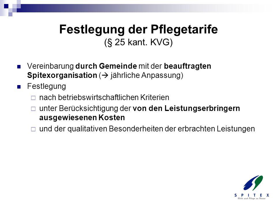 Festlegung der Pflegetarife (§ 25 kant. KVG) Vereinbarung durch Gemeinde mit der beauftragten Spitexorganisation ( jährliche Anpassung) Festlegung nac