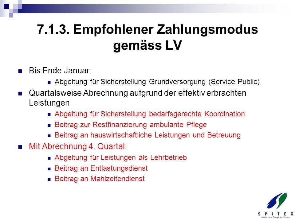 7.1.3. Empfohlener Zahlungsmodus gemäss LV Bis Ende Januar: Abgeltung für Sicherstellung Grundversorgung (Service Public) Quartalsweise Abrechnung auf