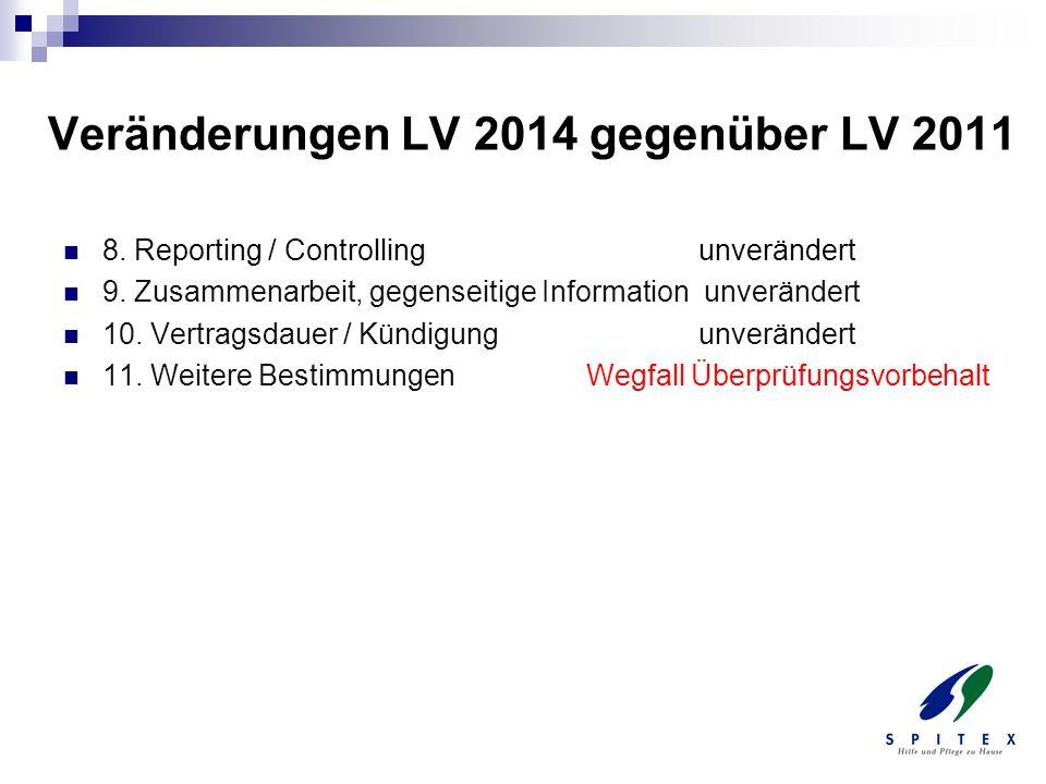 Veränderungen LV 2014 gegenüber LV 2011 8. Reporting / Controlling unverändert 9. Zusammenarbeit, gegenseitige Information unverändert 10. Vertragsdau