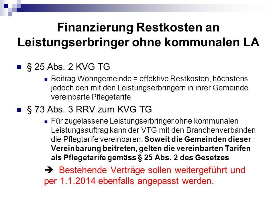 Finanzierung Restkosten an Leistungserbringer ohne kommunalen LA § 25 Abs. 2 KVG TG Beitrag Wohngemeinde = effektive Restkosten, höchstens jedoch den