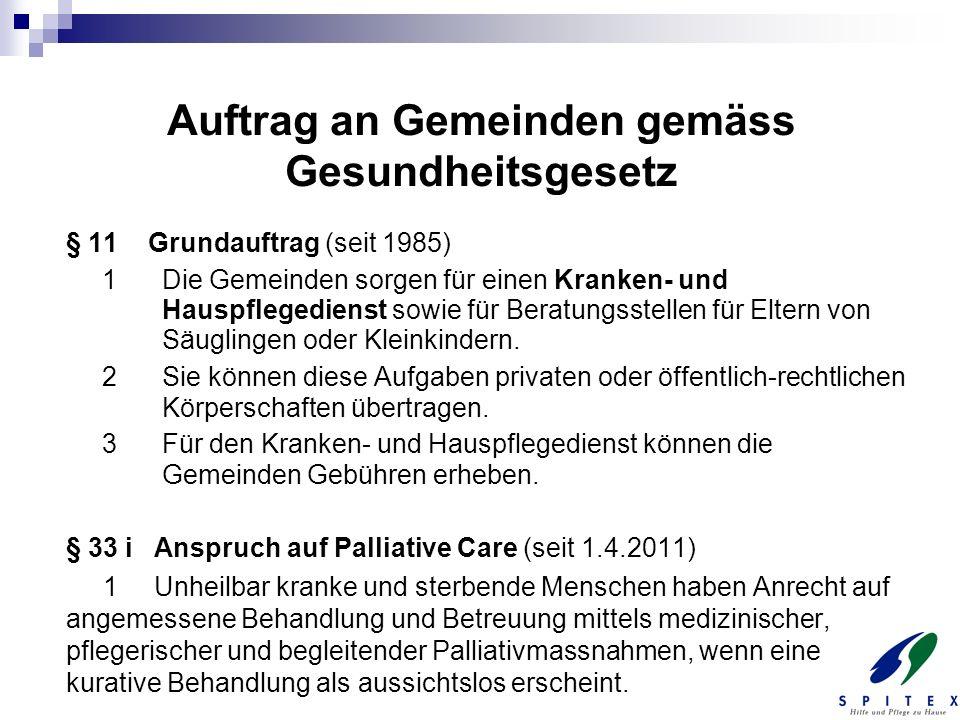 Auftrag an Gemeinden gemäss Gesundheitsgesetz § 11 Grundauftrag (seit 1985) 1 Die Gemeinden sorgen für einen Kranken- und Hauspflegedienst sowie für B