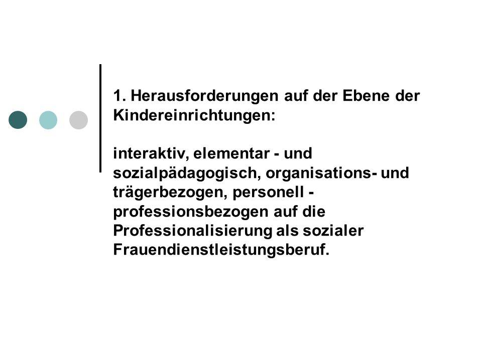 1. Herausforderungen auf der Ebene der Kindereinrichtungen: interaktiv, elementar - und sozialpädagogisch, organisations- und trägerbezogen, personell