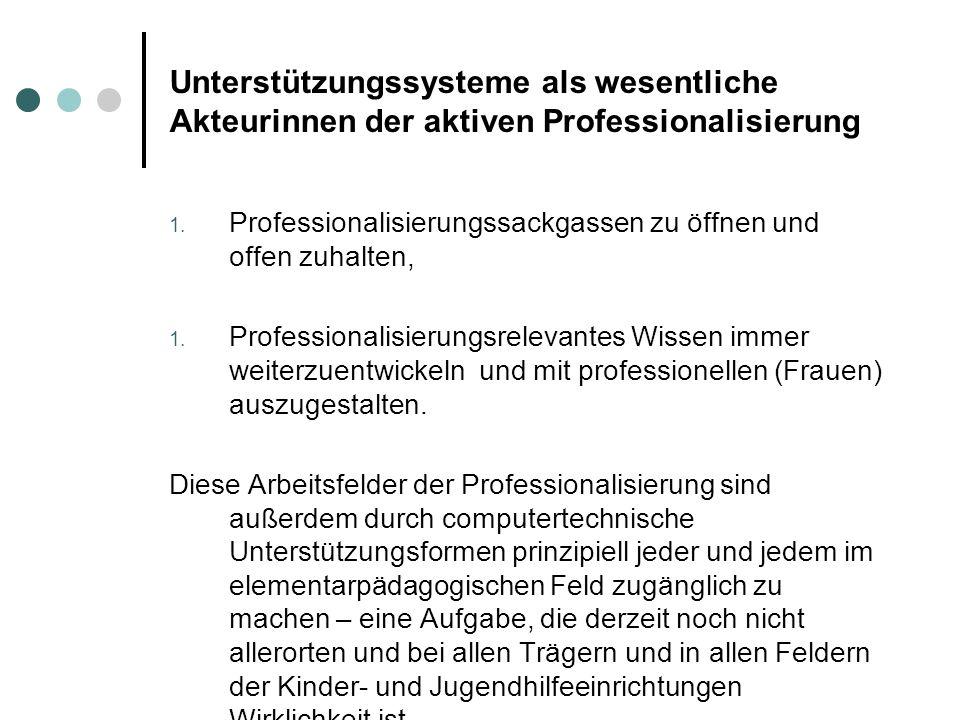 Unterstützungssysteme als wesentliche Akteurinnen der aktiven Professionalisierung Professionalisierungssackgassen zu öffnen und offen zuhalten, Profe