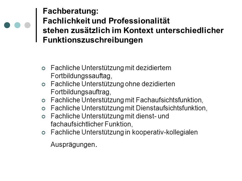 Fachberatung: Fachlichkeit und Professionalität stehen zusätzlich im Kontext unterschiedlicher Funktionszuschreibungen Fachliche Unterstützung mit dez