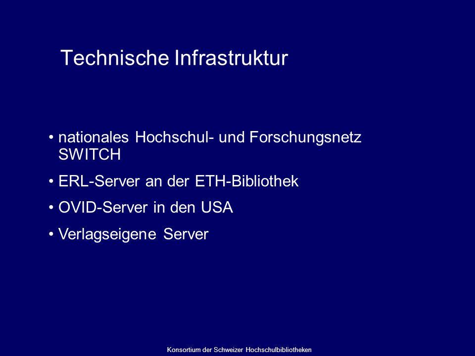 Technische Infrastruktur nationales Hochschul- und Forschungsnetz SWITCH ERL-Server an der ETH-Bibliothek OVID-Server in den USA Verlagseigene Server Konsortium der Schweizer Hochschulbibliotheken