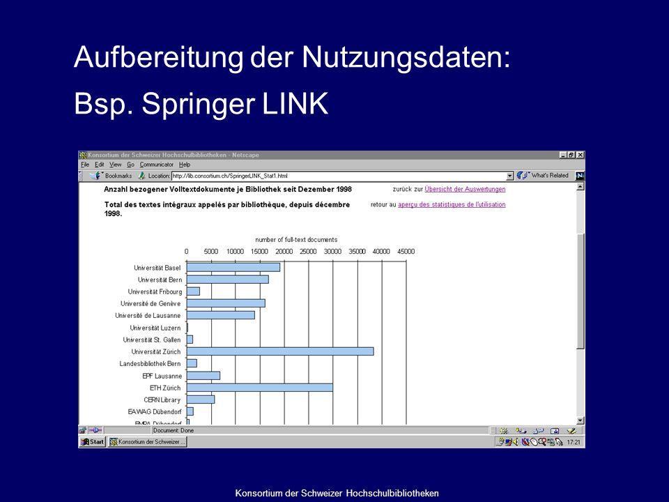 Aufbereitung der Nutzungsdaten: Bsp. Springer LINK Konsortium der Schweizer Hochschulbibliotheken