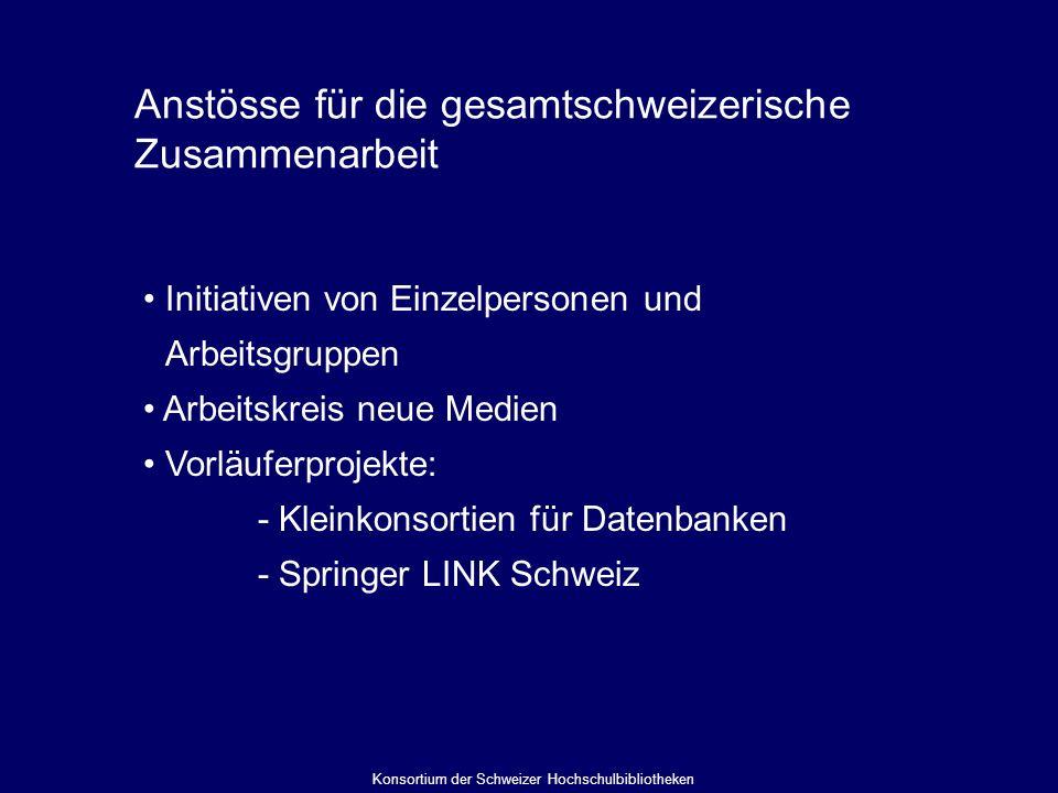 Anstösse für die gesamtschweizerische Zusammenarbeit Initiativen von Einzelpersonen und Arbeitsgruppen Arbeitskreis neue Medien Vorläuferprojekte: - Kleinkonsortien für Datenbanken - Springer LINK Schweiz Konsortium der Schweizer Hochschulbibliotheken