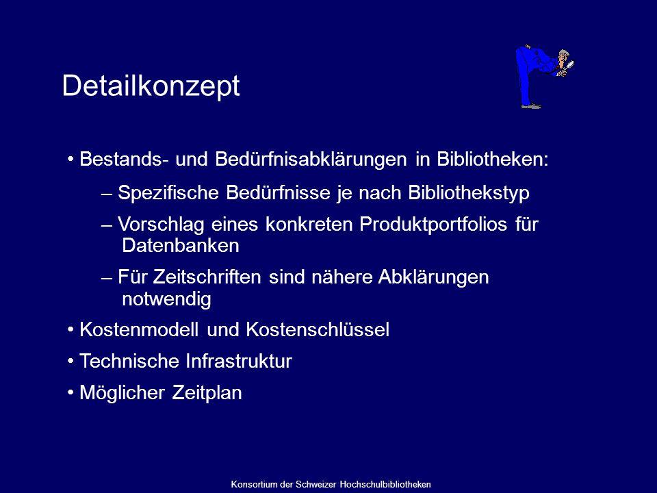 Detailkonzept Bestands- und Bedürfnisabklärungen in Bibliotheken: – Spezifische Bedürfnisse je nach Bibliothekstyp – Vorschlag eines konkreten Produktportfolios für Datenbanken – Für Zeitschriften sind nähere Abklärungen notwendig Kostenmodell und Kostenschlüssel Technische Infrastruktur Möglicher Zeitplan Konsortium der Schweizer Hochschulbibliotheken