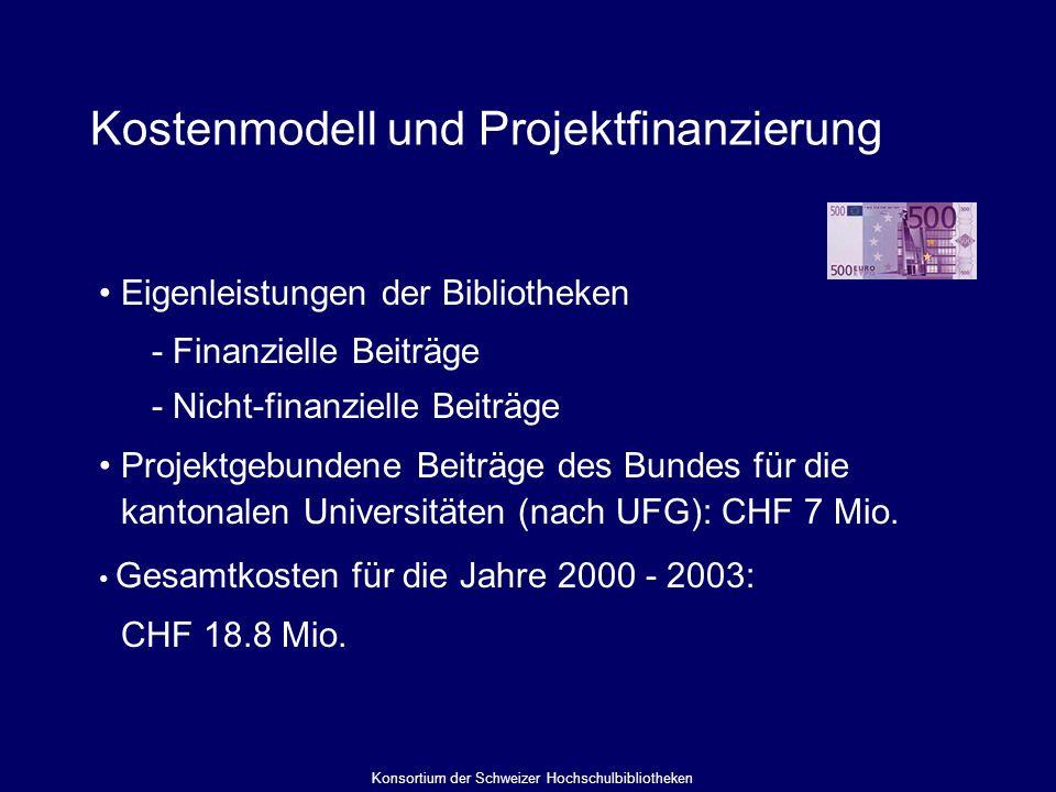 Kostenmodell und Projektfinanzierung Eigenleistungen der Bibliotheken - Finanzielle Beiträge - Nicht-finanzielle Beiträge Projektgebundene Beiträge des Bundes für die kantonalen Universitäten (nach UFG): CHF 7 Mio.