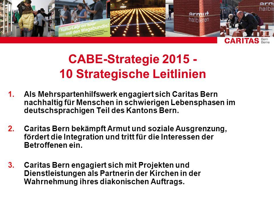 CABE-Strategie 2015 - 10 Strategische Leitlinien 1.Als Mehrspartenhilfswerk engagiert sich Caritas Bern nachhaltig für Menschen in schwierigen Lebensp