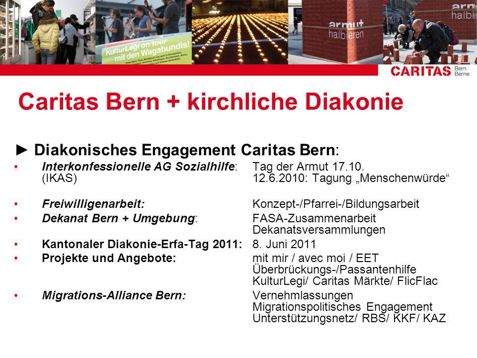 Caritas Bern + kirchliche Diakonie Diakonisches Engagement Caritas Bern: Interkonfessionelle AG Sozialhilfe:Tag der Armut 17.10. (IKAS)12.6.2010: Tagu