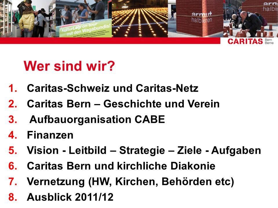 Wer sind wir? 1.Caritas-Schweiz und Caritas-Netz 2.Caritas Bern – Geschichte und Verein 3. Aufbauorganisation CABE 4.Finanzen 5.Vision - Leitbild – St