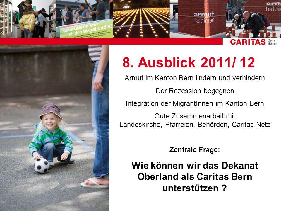 8. Ausblick 2011/ 12 Armut im Kanton Bern lindern und verhindern Der Rezession begegnen Integration der MigrantInnen im Kanton Bern Gute Zusammenarbei