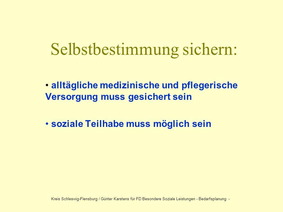 Selbstbestimmung sichern: alltägliche medizinische und pflegerische Versorgung muss gesichert sein soziale Teilhabe muss möglich sein Kreis Schleswig-Flensburg / Günter Karstens für FD Besondere Soziale Leistungen - Bedarfsplanung -