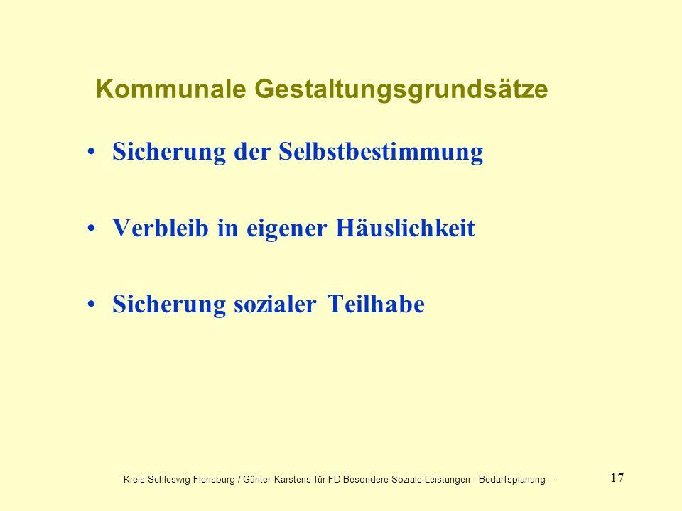 17 Kommunale Gestaltungsgrundsätze Sicherung der Selbstbestimmung Verbleib in eigener Häuslichkeit Sicherung sozialer Teilhabe Kreis Schleswig-Flensburg / Günter Karstens für FD Besondere Soziale Leistungen - Bedarfsplanung -