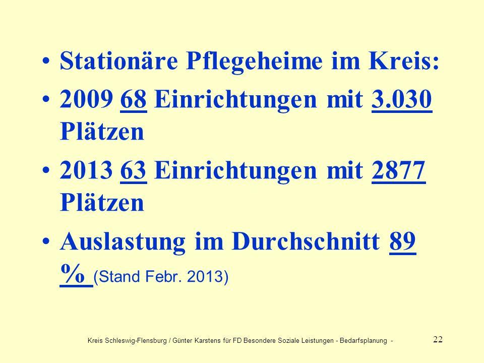 22 Stationäre Pflegeheime im Kreis: 2009 68 Einrichtungen mit 3.030 Plätzen 2013 63 Einrichtungen mit 2877 Plätzen Auslastung im Durchschnitt 89 % (Stand Febr.