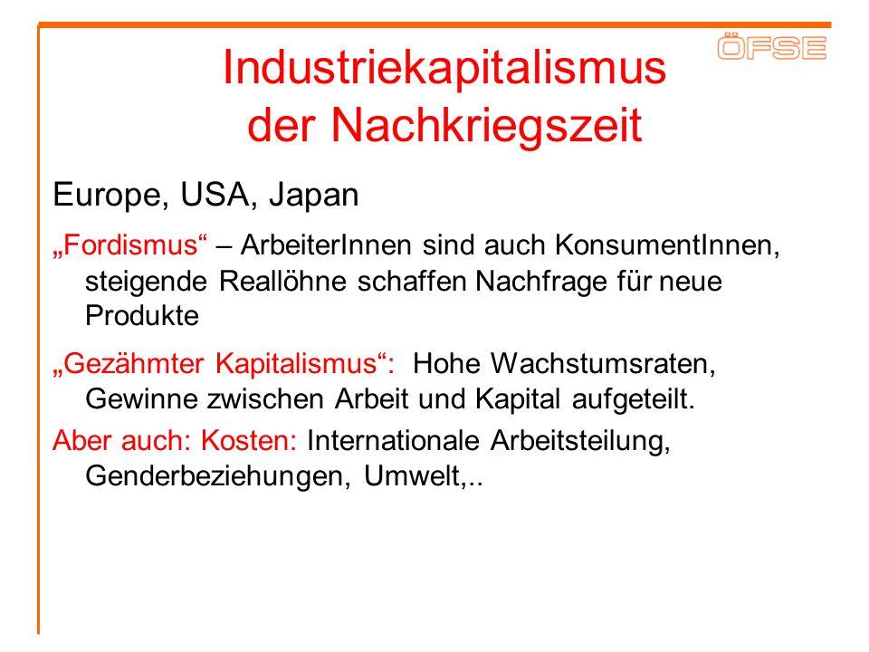 Industriekapitalismus der Nachkriegszeit Europe, USA, Japan Fordismus – ArbeiterInnen sind auch KonsumentInnen, steigende Reallöhne schaffen Nachfrage