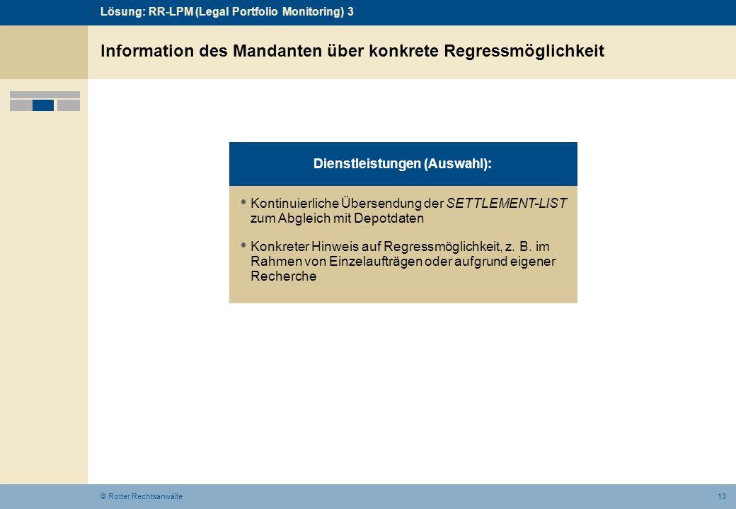 13© Rotter Rechtsanwälte Information des Mandanten über konkrete Regressmöglichkeit Kontinuierliche Übersendung der SETTLEMENT-LIST zum Abgleich mit D