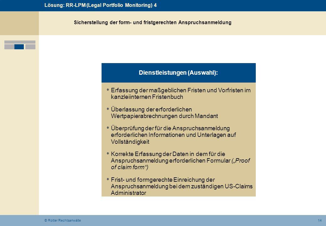 14© Rotter Rechtsanwälte Erfassung der maßgeblichen Fristen und Vorfristen im kanzleiinternen Fristenbuch Überlassung der erforderlichen Wertpapierabr