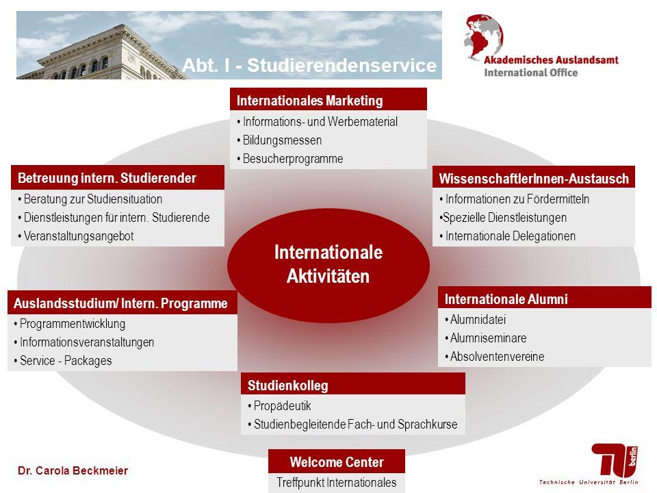 Abt. I - Studierendenservice Dr. Carola Beckmeier Internationales Marketing Informations- und Werbematerial Bildungsmessen Besucherprogramme Wissensch