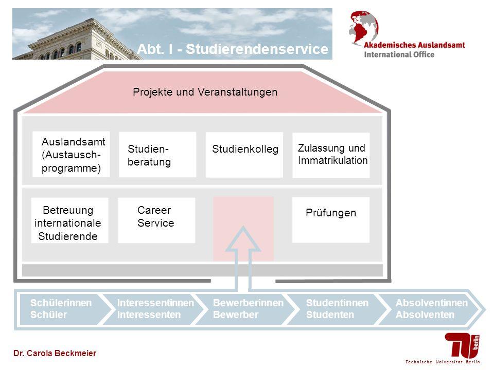 Abt. I - Studierendenservice Dr. Carola Beckmeier Zulassung und Immatrikulation Projekte und Veranstaltungen Career Service Studien- beratung Studienk