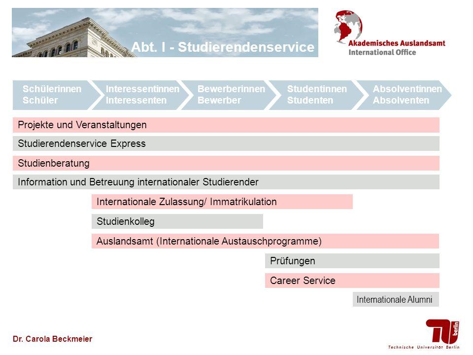Dr. Carola Beckmeier Studienberatung Information und Betreuung internationaler Studierender Auslandsamt (Internationale Austauschprogramme) Studienkol